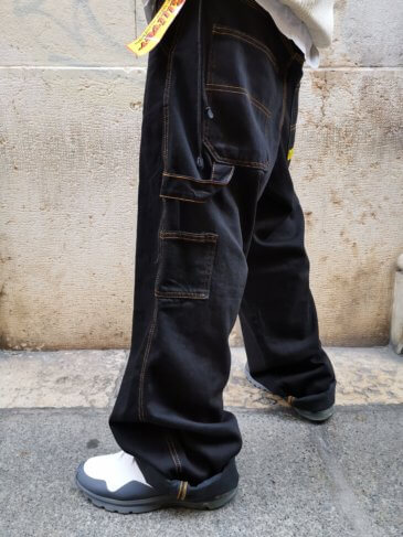 OUTSIDER Baggy Pants Black Yellow sticks
